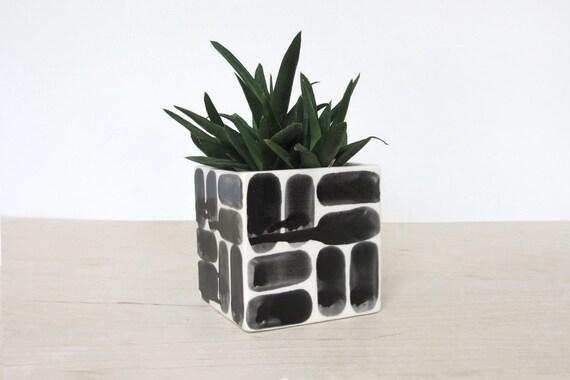 Large Brick Patterned Ceramic Square Planter - Single - Made to Order
