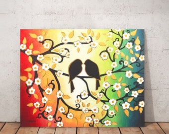 Mothers Day Gift Original Love Bird Painting on Canvas Blossom Tree Branch Wall Art Wedding Gift for Couple Bedroom Decor