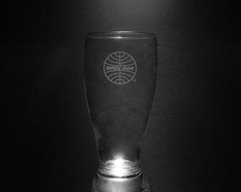 Pan Am 1973 Globe 18 Ounce Pilsner Glass.