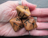 Unique and Exclusive - Rune Dice - in Sycamore Wood. Set 102.