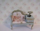 Dollshouse Telephone seat, ,duck egg blue, hall seat, telephone table,  hand painted,  Twelfth scale dollhouse miniature