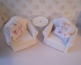 Dollhouse Chair set, , , , Living room , white velour chairs, ,  Armchairs, Soft chairs, , twelfth scale, dollhouse miniature
