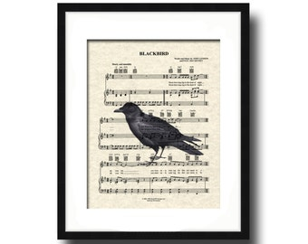 The Beatles Blackbird Sheet Music Art Print, Blackbird Art Print, Blackbird Song Art Print,The Beatles Music Art Print