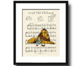 Over The Rainbow Song Lyric Sheet Music Art Print, Wizard Of Oz Movie Art Print, Dorothy and Lion, Nursery Art, Kid's Room Art