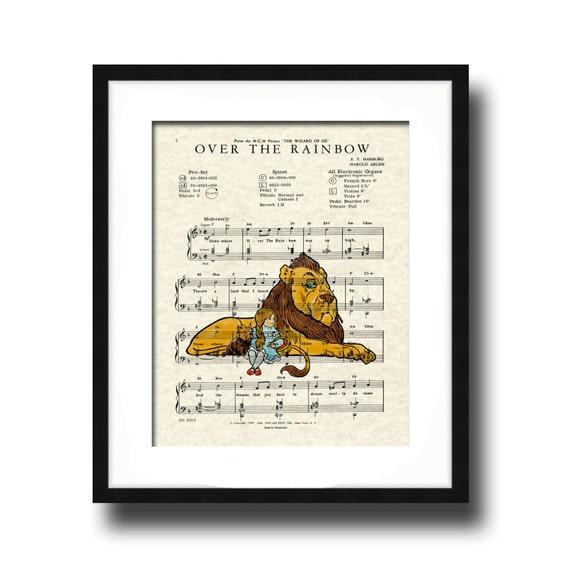 Over The Rainbow Song Lyric Sheet Music Art Print, Wizard Of Oz Movie Art Print, Dorothy and Lion, Nursery Art, Kid's Room Art