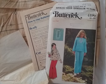 Butterick Girl's Top and Pants Pattern w embroidery transfer size 14  Free Shipping