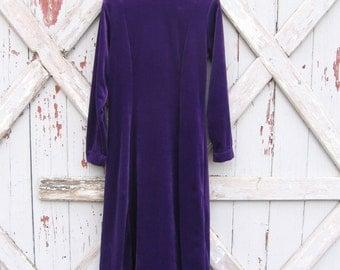 vintage Forenza rich purple velvet stretch dress 12  M L