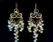25% Off Ethiopian Welo Opal Gold Filled Cluster Ornate Gemstone Chandelier Earrings