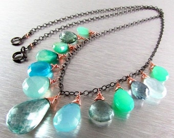25% Off Green and Blue Mixed Gemstone Oxidized Silver With Rose Gold Necklace, Boho Style Necklace