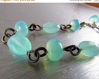 25% Off Aqua Chalcedony Wire Wrapped Oxidized Sterling Bracelet, Chunky Silver Bracelet