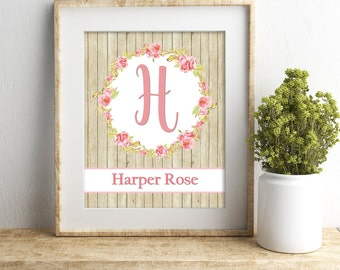 Personalized Nursery Wall Art Baby Girl Nursery Wall Decor Custom Name Print Shabby Pink Nursery Wall Art Girl Wall Art Floral Nursery Decor