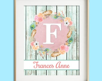 Personalized Nursery Art, Baby Girl Nursery Wall Decor, Custom Name Print, Shabby Pink Nursery Wall Art, Girl Wall Art, Rustic Glam Nursery