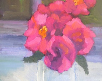 "Small Flower Painting, Pink Flowers, Flower Still Life, 6x8"" Original Oil Painting, Floral Still Life"