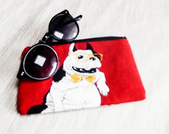 Bulldog Pouch, Dog Zipper Pouch, Fabric Pouch, Cosmetic Pouch, Coin Purse, Change Pouch, Zipper Case, Red Dog Pouch, Red Lipstick Pouch