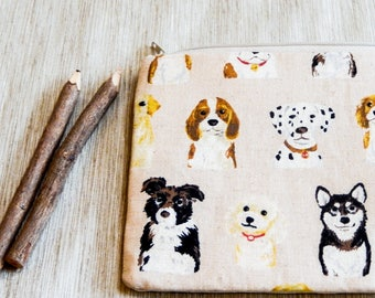 Mothers Day Gift - Dog Fabric Zipper Pouch - Gift for Dog Lover - Dog Cosmetic Bag - Gift for Grad - Dog Pouch - Gift for Teacher - Mom Gift
