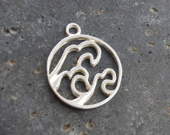 Sterling Silver Circle Ocean Wave Surge Pendant 12x13 mm, Sterling Openwork Solid 925 Silver, FPJZS