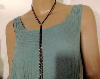 Black golden chain long necklace Multichain oxidized necklace