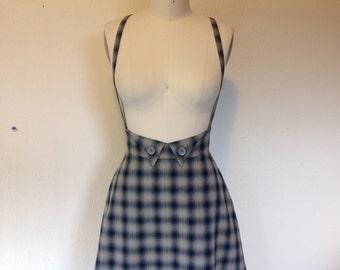 Roberta Homespun cotton suspender skirt Sz 6