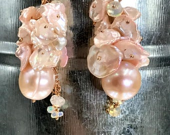 Blush Keishi Pearl Cluster Earrings, Rose Gold Wire Wrap, Moonstone Ethiopian Opal Blush Keishi Pearl Cluster Blush Wedding Bridal Earrings