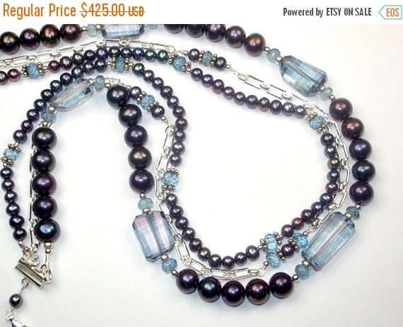 35% SALE Multistrand Pearl Necklace, Triple Strand Blue Choker Necklace, Sterling Silver, Chunky Necklace, Peacock Blue Pearl Statement Neck
