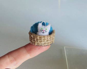 Tiny white Cat miniature felt stuffed animal with stiffened burlap and felt basket and pillow play set -collectible and dollhouse toy