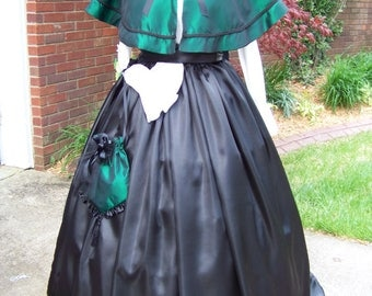 Ladies Civil War Black satin skirt and sash,Cape Hunter Green taffeta and matching hat and reticule Black Satin trim and Braid Handmade set