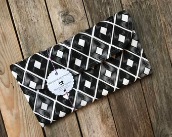 Black White Diamond Diaper Clutch with Changing Pad - Graphic - Roll Up Diaper Holder - Gray - Baby Shower Gift - Black - New Mom Gift
