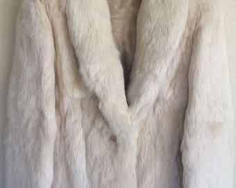 Vintage Dyed Rabbit Off White Fur Jacket, Vintage Coat Size Small