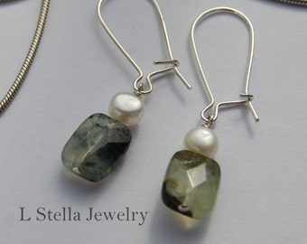 Rutilated Quartz Set Earrings and Necklace snake chain Pearls