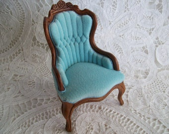 Hand Crafted, Miniature, One Inch Scale, Upholstered Chair by Leonetta in 1984