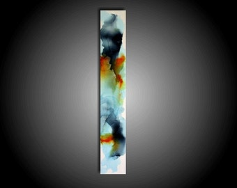Large Colorful Abstract Painting Original Painting Modern Canvas Wall Art 36 x 6 Zen Painting Gray Navy Burnt Orange Art Home Decor