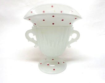 Beaumont Ferlux Glass Vase Red Polka Dots Clambroth Glass 1930s