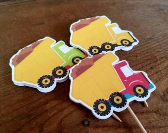 Construction Party - Set of 12 Assorted Dump Truck Cupcake Toppers by The Birthday House