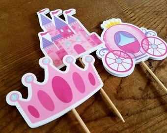 Princess Party - Set of 12 Double Sided Assorted Fairytale Cupcake Toppers by The Birthday House