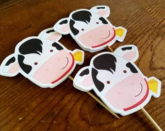 Farm Birthday Party - Set of 12 Cow Cupcake Toppers by The Birthday House