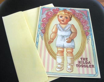 Vintage Greeting Card, The Hilda Toddler Doll, Paper Doll Clothing, 1990, Unused, Peck-Gandre Victorian Series, With Envelope