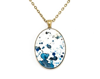 Splatter Painting Pendant - Abstract Art Brass Oval Necklace - Etherial Ink Colorway: Indigo, Navy, Black, Gold