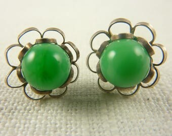 Vintage Sterling Flower Earrings with Blown Glass Bead