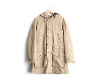 Size L (Tall) // TAN CANVAS PARKA // J. Peterman - Hooded - Fully Lined - Heavy Jacket - Minimalist - Vintage '90s.
