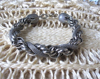 Vintage 50s Silver Twisted Rope Mesh and Braid Chain Bracelet