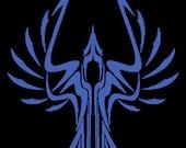 Special Order for IUB Grad Blue Laser etched Bird Design Dichroic Fused Glass Pendant