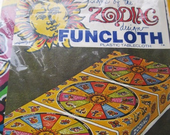 Vintage Party Supply , Vintage Tablecloth , Signs of the Zodiac,  Vinyl FunCloth , Zodiac Theme , Fairs and Carnivals , Colorful Cosmic Art