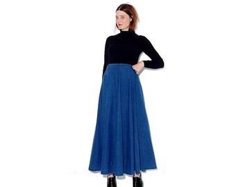 OMG HALF OFF amazing vintage Denim Skirt / high waisted skirt western skirt full sing skirt maxi skirt jean skirt 80s 90s clothing
