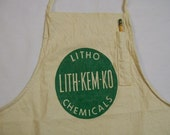 Vintage Work Apron, Full Apron, Store Apron, LITH KEM KO Chemicals, Carpenter's Apron , Advertising Apron, Canvas Apron