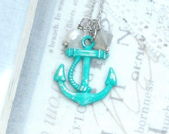 Anchor Charm Necklace Turquoise Beach Necklace Anchor Gift Nautical Necklace Anchor Jewelry