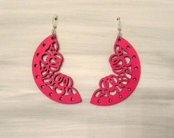Hand Painted Laser Cut Pink Earrings