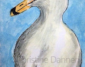 Original Art Seagull ACEO Painting