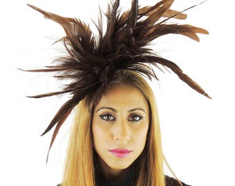 Unstripped Chocolate Brown Fascinator Hat for Weddings, Races, and Special Events With Headband