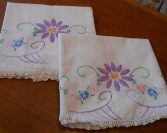 Set of vintage crocheted Daisy  pillowcases