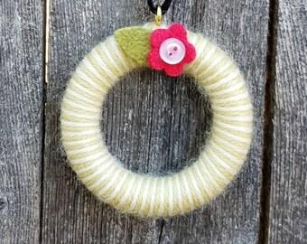 Rescued Wool Mini Wreath Ornament - Wool Yarn Wrapped Wreath with Posie